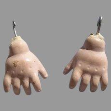 Vintage Plaster Filled Doll Hands