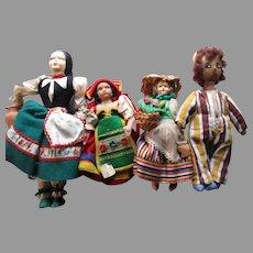 Vintage Group of Cloth Dolls