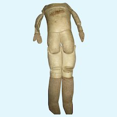 Antique Sawdust Leather Doll Body