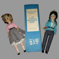 Two Vintage Telephone People. The Operator and Bell Lineman Dolls