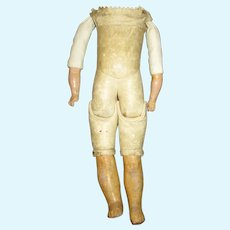 Antique Leather Doll Body with Composition Arms