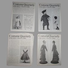 Costume Quarterly For Doll Collectors 1976 Volume 1 thur 4 Doll Cloth Patterns