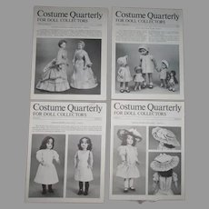 Costume Quarterly For Doll Collectors Volume 6 Number 1-4  Doll Clothes Patterns