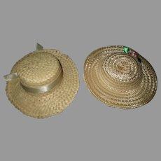 2 Vintage Straw Doll Hats