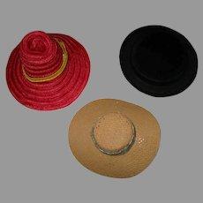 3 Vintage Doll Hats