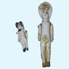 2 Antique Bisque German Bonnet Dolls