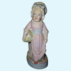 Antique Bisque Girl Doll Figure Vase.