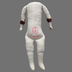 Vintage Cloth Doll Body With Bisque Hands.