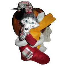 Annalee Christmas Wolf with Stocking