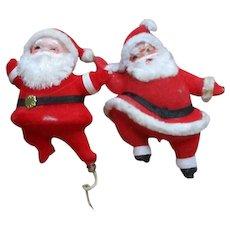 2 Vintage Made in Christmas Hong Kong Santa
