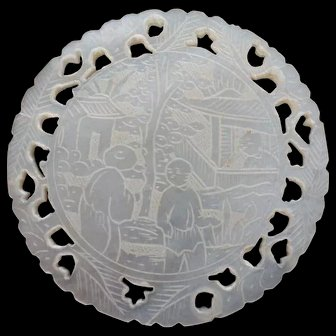 Large round mother of pearl gaming chip Top Quality from China Early 1800's