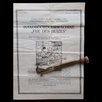 1930's German brass hand held embroidery sewing machine with instructions