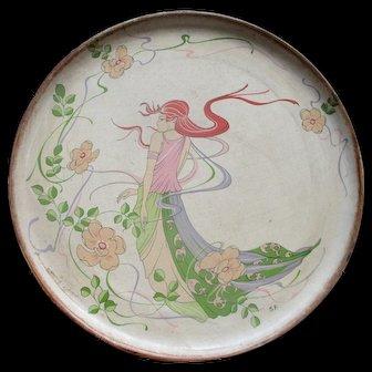 1970's Papier mâché serving  tray with Art Nouveau style woman and Floral Decoration
