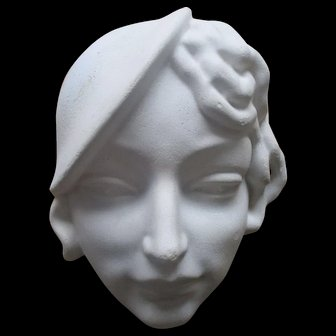Vintage wall hanging plaster mask woman with hat