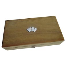 Old gaming counters  card games wooden box with enameled suits bakelite gaming counters