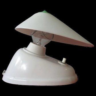 Art Deco Streamlined White bakelite desk wall lamp Bauhaus 1940's