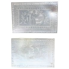 2 x Mother of pearl gaming counter Rectangular High Quality 18th century