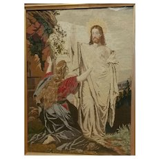 Very large 19th c Religious Needlework Tapestry