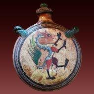 Italian Graffito Terracotta Redware Dragon Pilgrim's flask