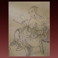 Sublime school of Katsushika Hokusai Edo ink  painting of Chinese scholar