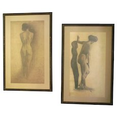 Pair of Large  Antique  Atelier Charcoal Nude Drawings