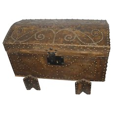 Rich 18th c  French studded leather trunk /coffer