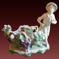 Antique Bisque Figural Spill Vase