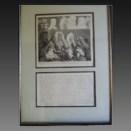 "William Hogarth (1697-1764) original engraving; ""The Bench"""