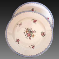 Pair of French Limoges Ahrenfeld porcelain chargers /  platters with gilt trim