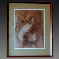 Signed Barbara A Wood artist's proof Mother and Daughter limited edition serigraph print