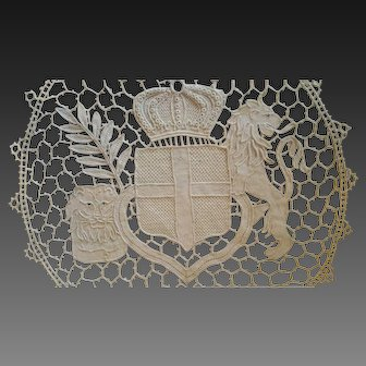Antique Belgian War Lace Heraldic Arms of Italy