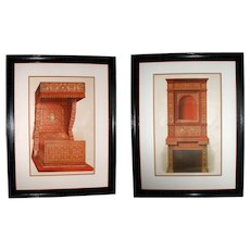 Large Pair of Antique French Architectural Design Chromolithographs