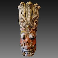 Old carved Naga Raksha ritual Southeast Asian cobra mask