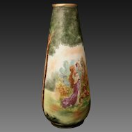 19th c hand painted Royal Bayreuth Bavarian Tapestry Vase with Maidens