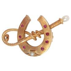 Art Nouveau Pin 14 Kt Gold Horseshoe Riding Crop Rubies Pearls Antique