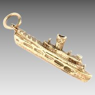 Vintage 14k Gold Steam Ship Boat Charm Pendant 3 D