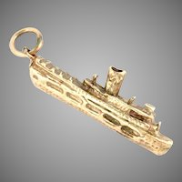 Vintage 14 Kt Yellow Gold Steam Ship Boat Charm Pendant 3 D