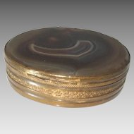 Antique Pill Trinket Snuff Box Brass Scottish Agate