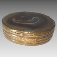 "Antique Pill Trinket Snuff Box Brass Scottish Agate 2.5"" x 2.25"""
