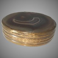 "Antique Pill Trinket Snuff Box Brass Scottish Agate 2.5"" x 2.25"""