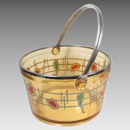 Vintage Amber Glass  Silver Overlay Polychrome Ice Bucket 1950s