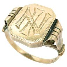 Vintage Men's Signet Ring 14k Rose Gold Size 10