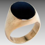 Vintage 14K Gold Ring Onyx Size 8.5, Estate  9.3 g