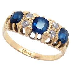 Victorian Ring 18 Kt Sapphire Diamond Size 7.75