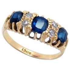Antique Ring 18 Kt Sapphire Diamond Size 7.75 Victorian