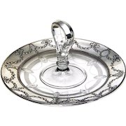 Vintage Tray Sterling Overlay Etched glass Vintage