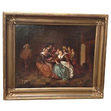 19th Century Signed Painting Dutch Genre Tavern Interior Scene