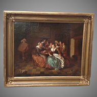 19th Century Oil Painting Dutch Genre Signed Framed
