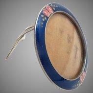 "Picture Frame Enamel Silver Gilt Back 1900s Antique 1.75"" diameter"