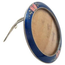 "Picture Frame Enamel Silver Gilt Back 1900s Antique 1.75"" diameter"